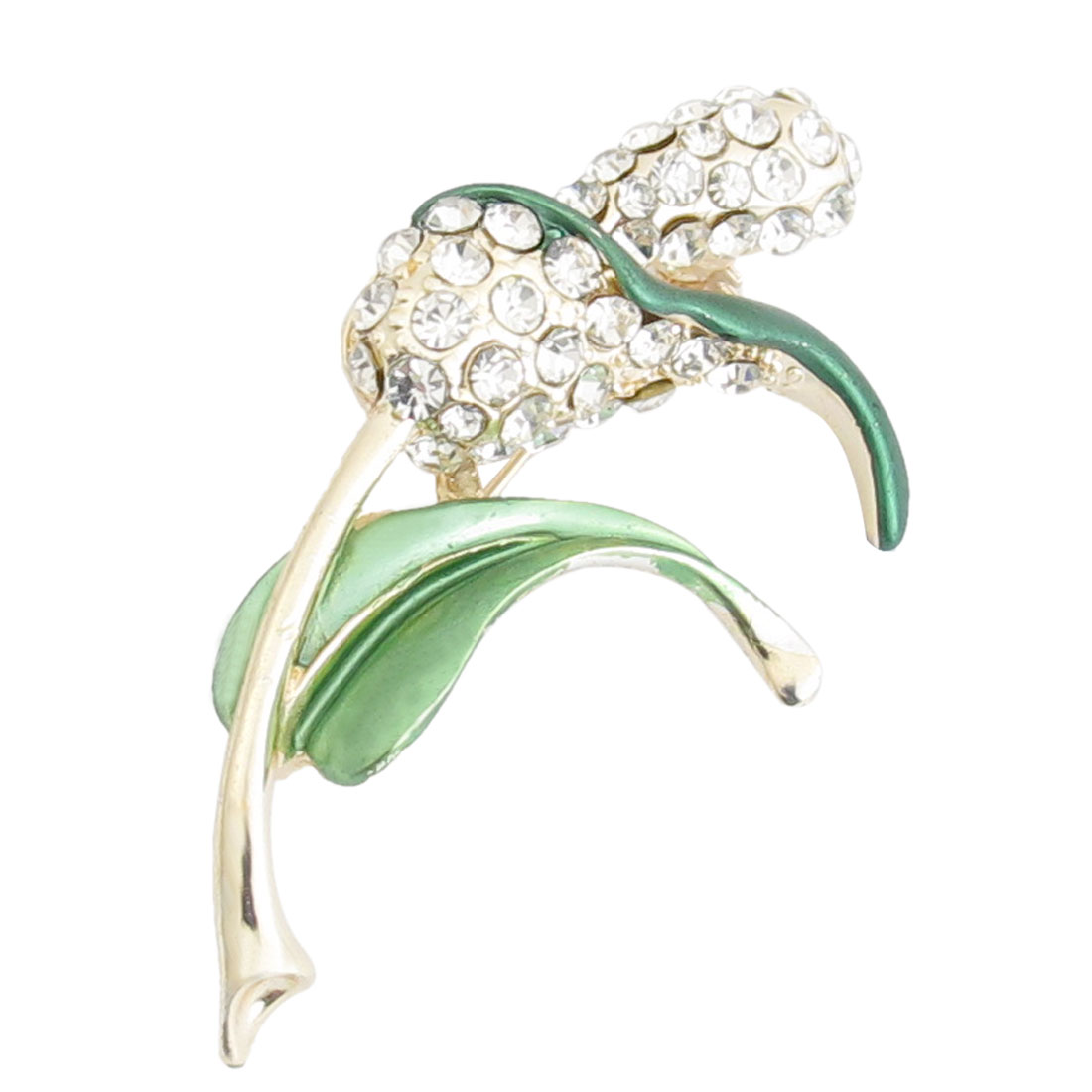 Bridal Decoration Green Leaf Rhinestone Inlaid Flower Branch Brooch Pin