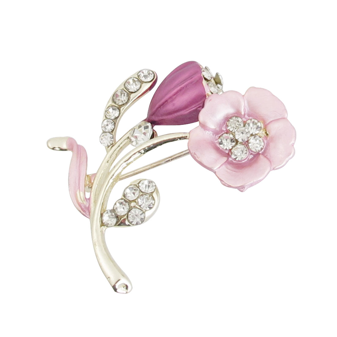 Rhinestone Detail Pink Flower Branch Brooch Pin Bridal Decoration