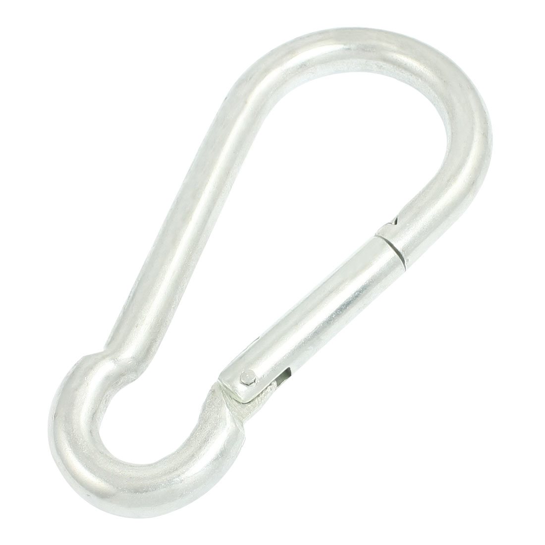 Spring Loaded Gate Lock Silver Tone Metal 14mm Dia Carabiner Hook 7.1""