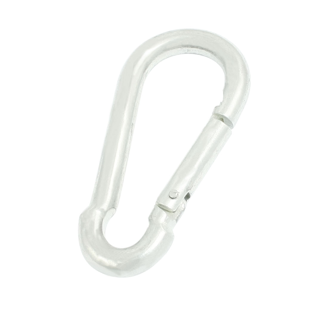 Spring Loaded Gate Lock Silver Tone Metal 8mm Dia Carabiner Hook 3.1""