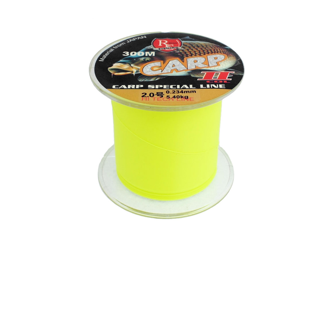 0.234mm Diameter 5.4Kg Yellow Green Nylon Freshwater Fishing Spool Line 300m