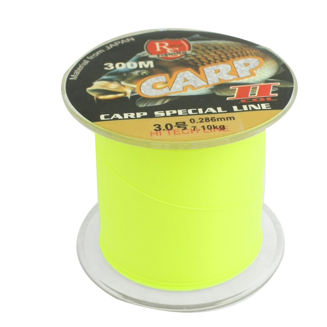 0.286mm Diameter 7.1Kg Yellow Green Nylon Freshwater Fishing Spool Line 300m