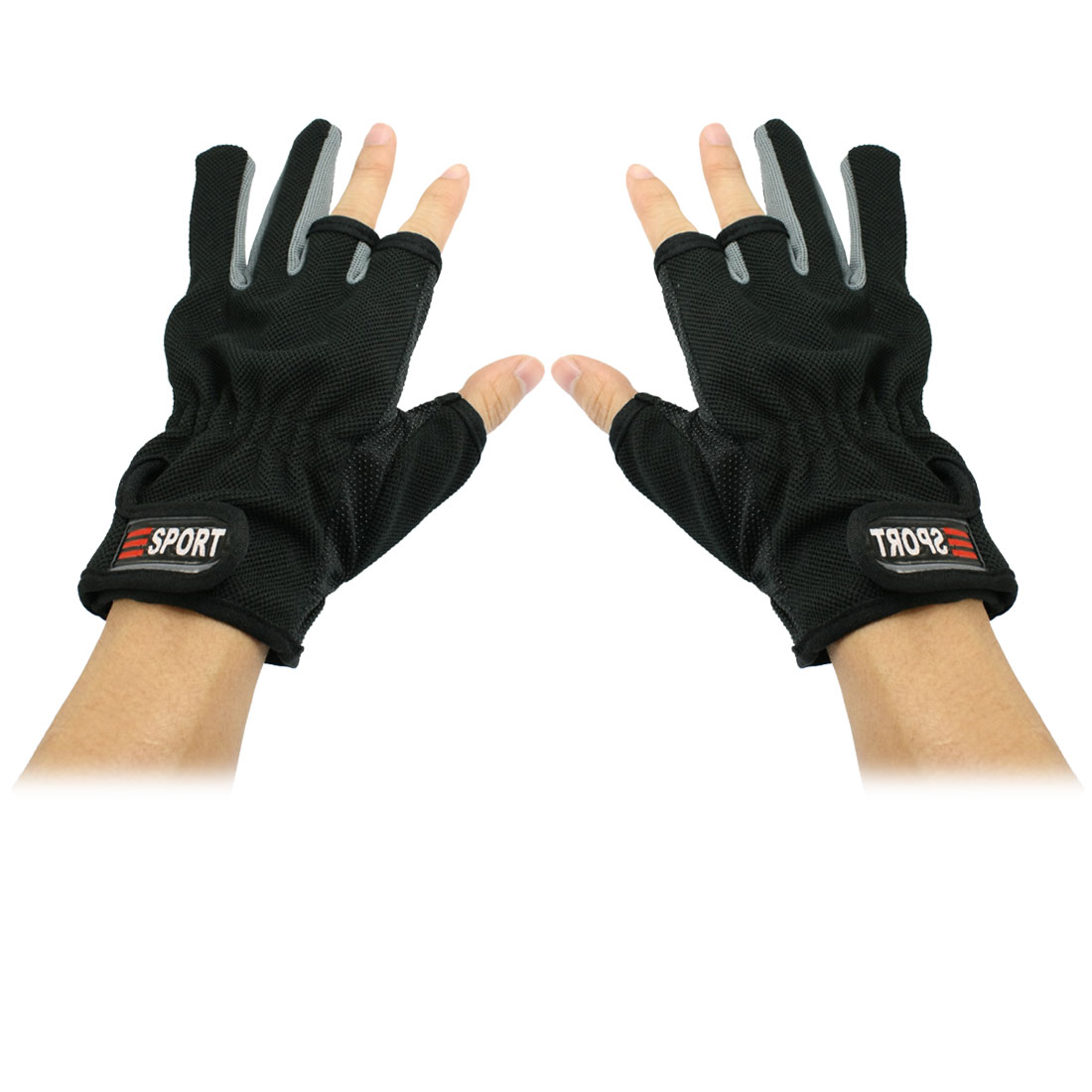 Pair Loop Hook Closure Wrist 3 Half 2 Full Fingers Sport Gloves Black