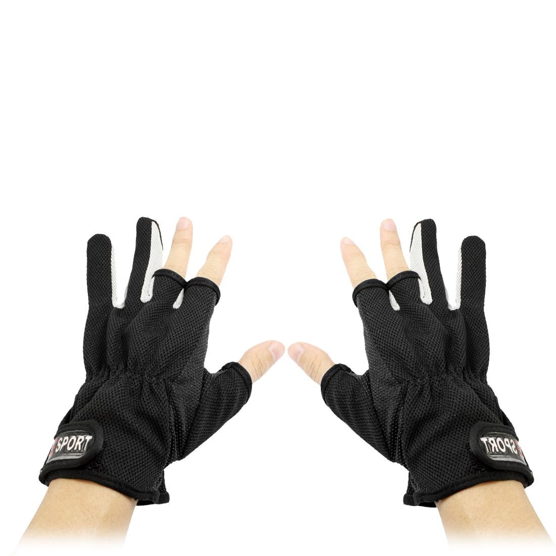 Adjustable Loop Hook Closure Half Full Fingers Sport Gloves Black Pair