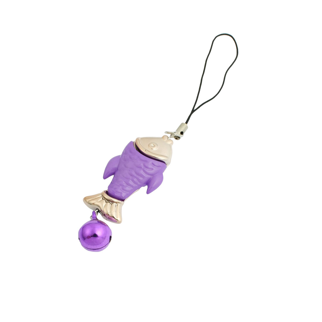Purple Gold Tone Plastic Fish Shaped Pendant Cell Phone Strap