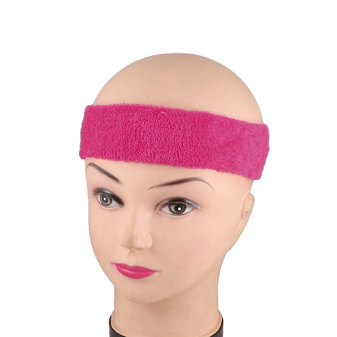 2 Pcs Athletic Sports Fuchsia Terry Elastic Fabric Headband Hair Binding Band for Ladies