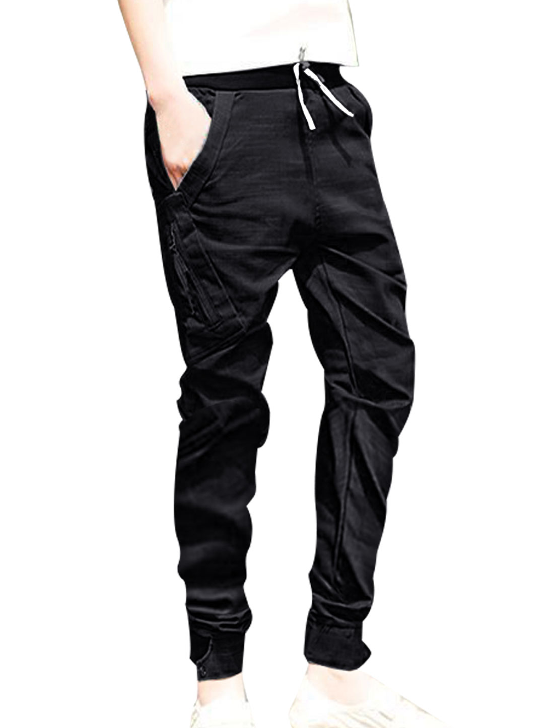 Men Black Side Pockets Drawstring Waist Casual Cropped Pants W31