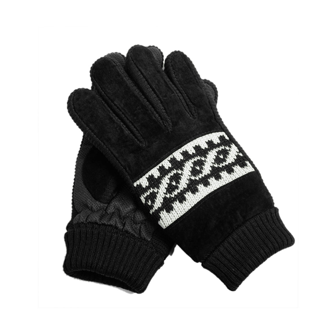 Mens Ribbed Wrist Windproof Helix Pattern Knit Black Thick Gloves