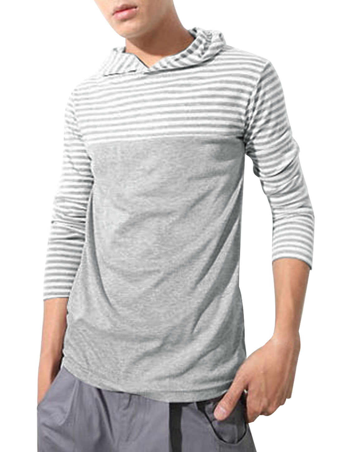 Men Light Gray White Long Sleeve Stripes Design Casual Slim Hood Shirt S