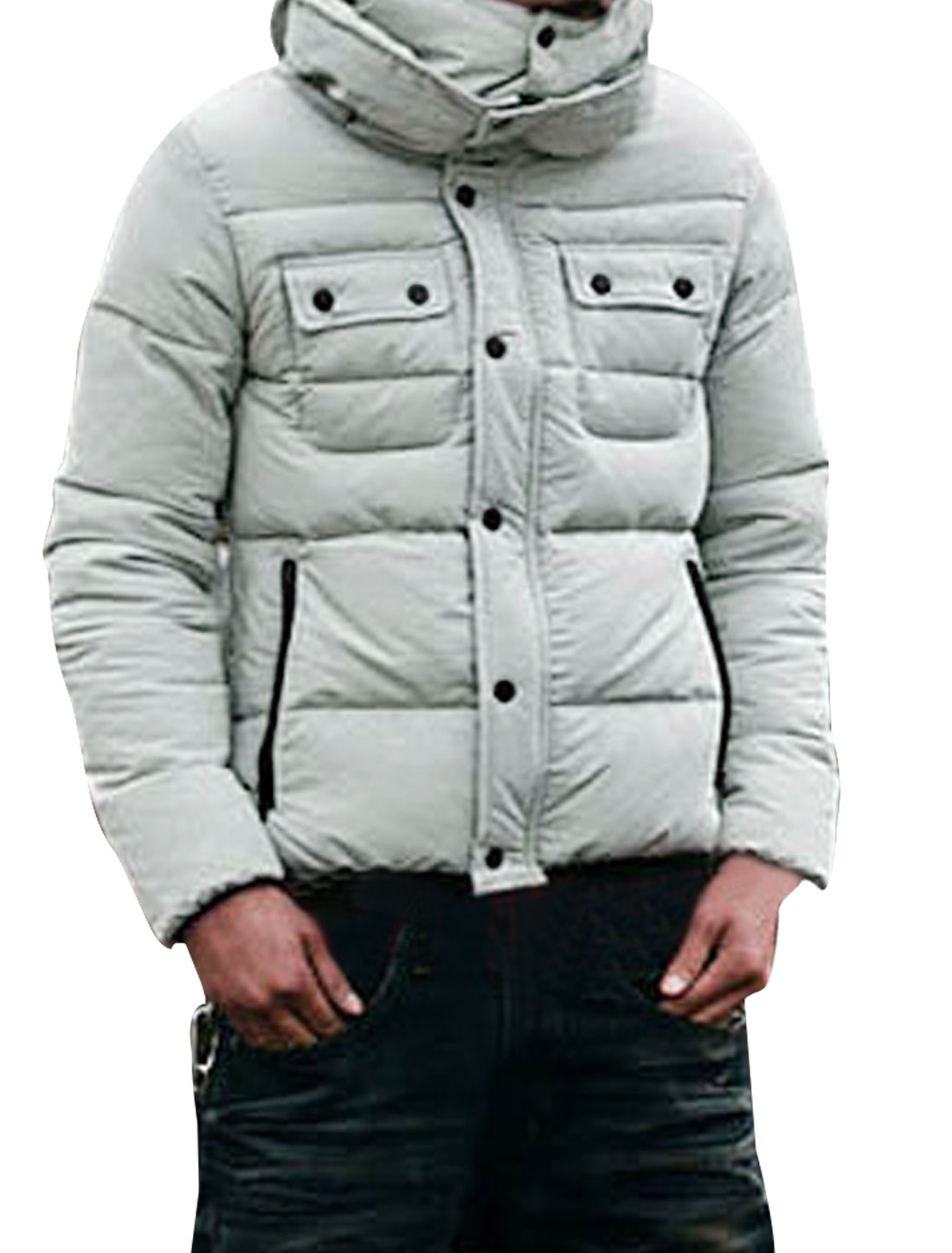 Men Light Gray Long Sleeves Top Pockets Decor Zip Up Padded Coat M