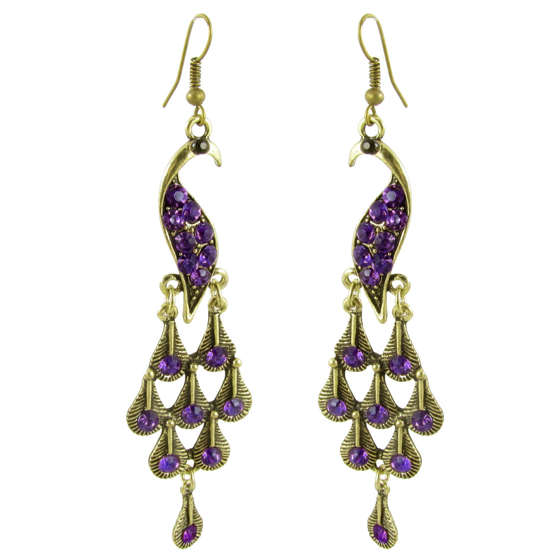 Pair Purple Rhinestone Accent Bronze Tone Peacock Pendant Fish Hook Earrings