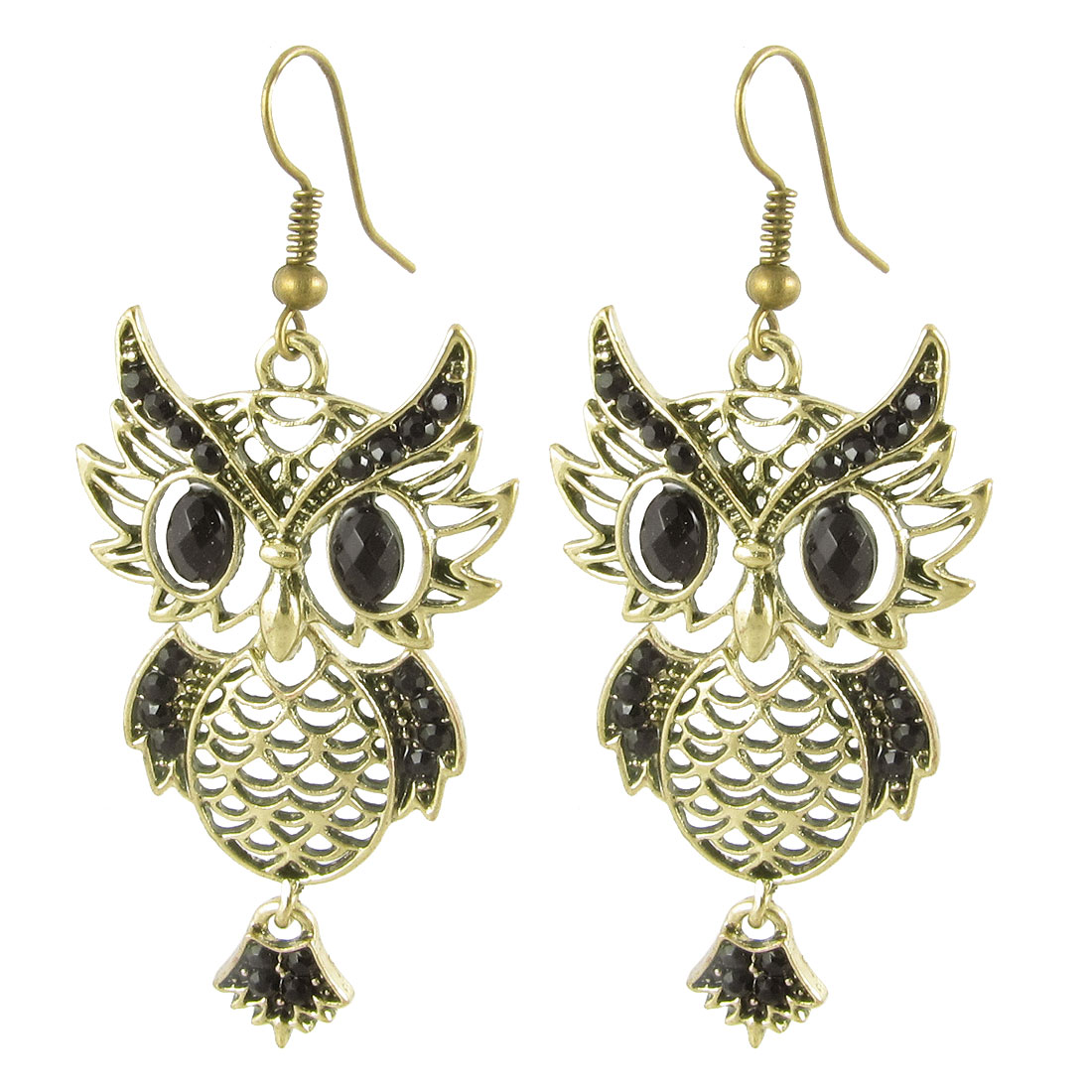 Pair Black Rhinestone Bronze Tone Hollow Owl Shape Pendant Ear Hook Earrings
