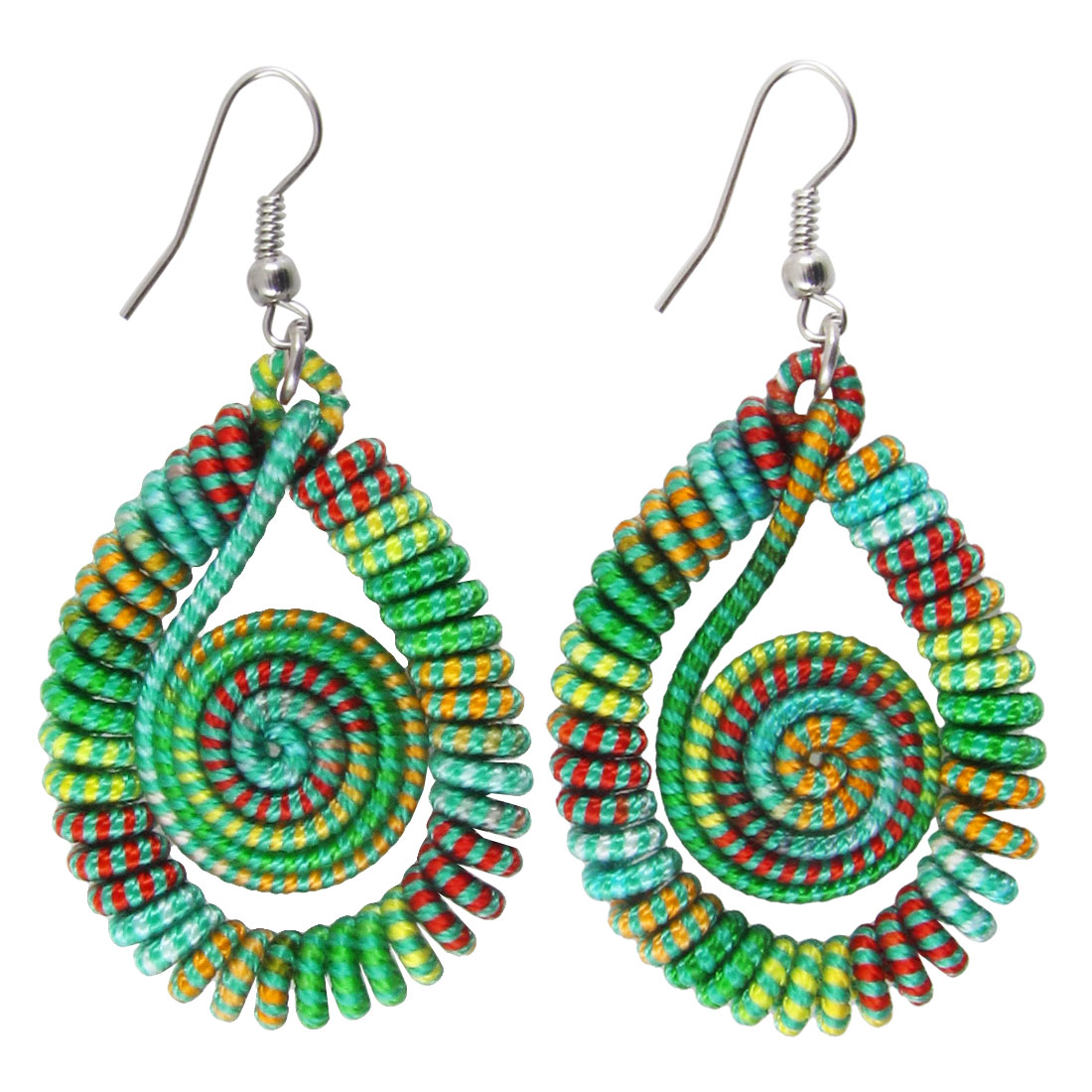 Pair Multicolor Thread Wrapped Oval Shape Spiral Design Pendant Hook Earrings