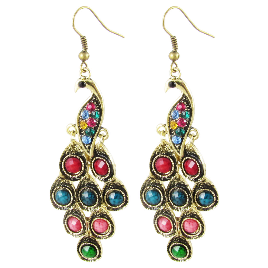 Pair Multicolor Rhinestone Bronze Tone Peacock Pendant Dangle Ear Hook Earrings