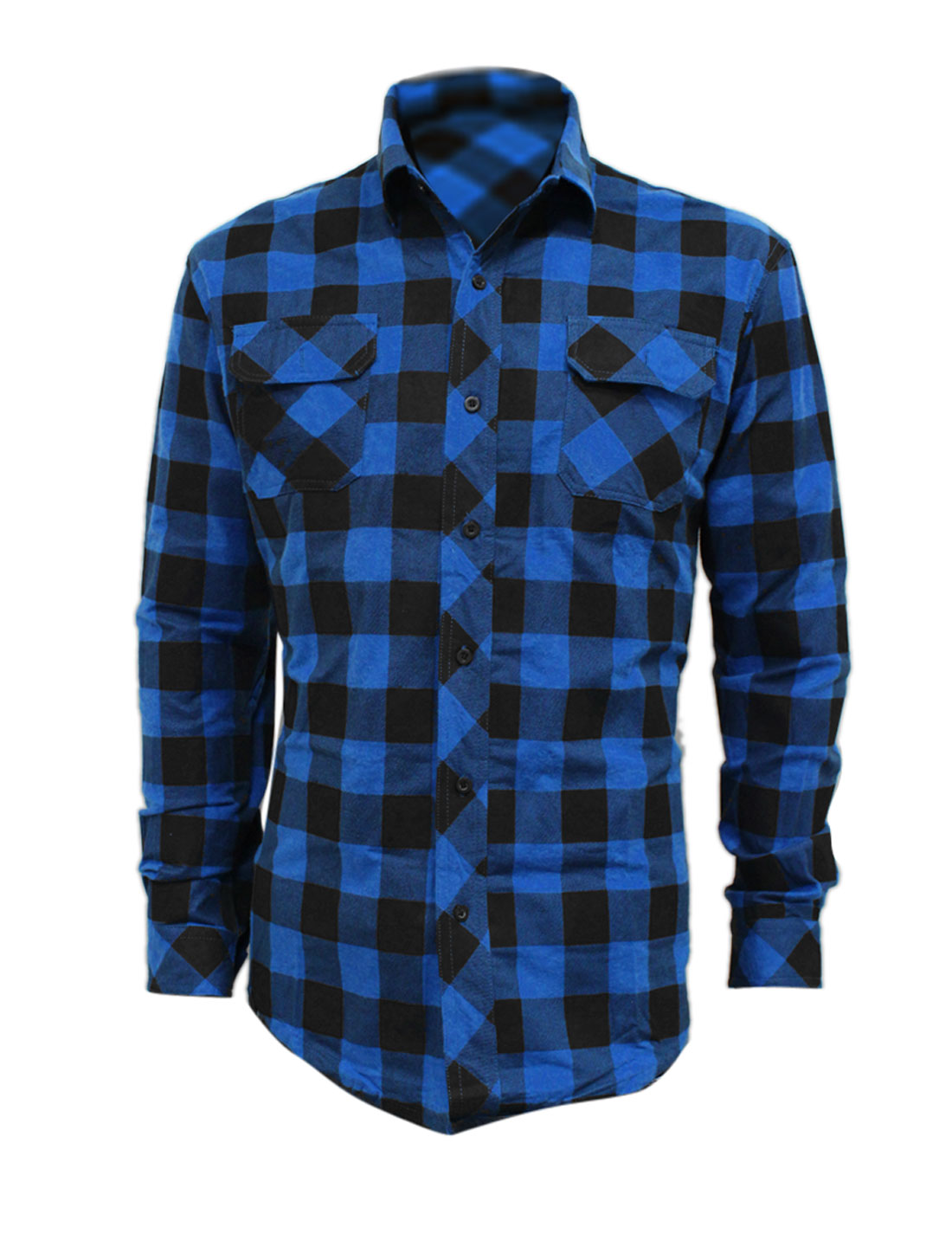 Mens Blue Black Single Breasted Plaids Pattern Pockets Top Fall Shirt L