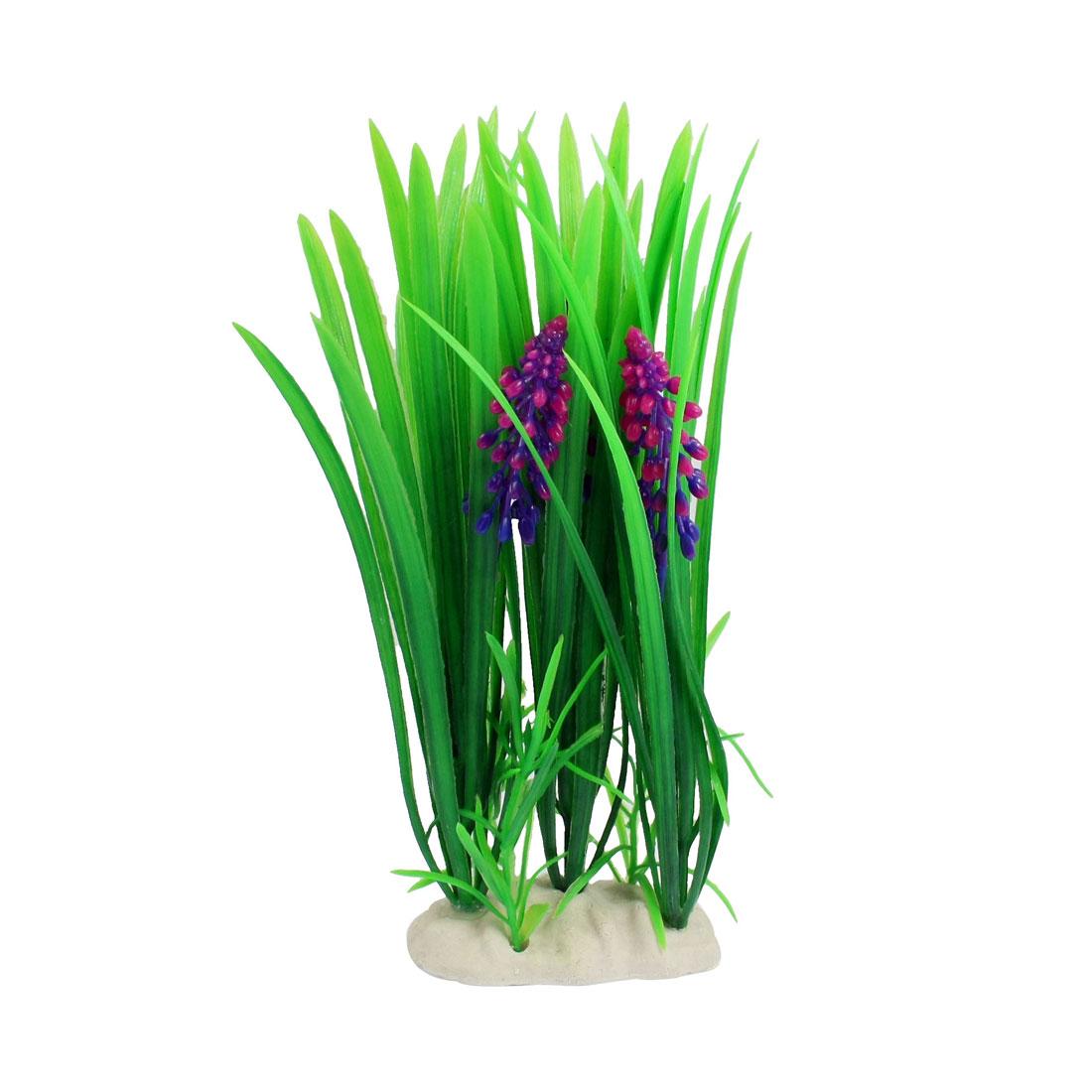 Fish Tank Fishbowl Decoration Blue Magenta Flowers Plastic Aquatic Plant