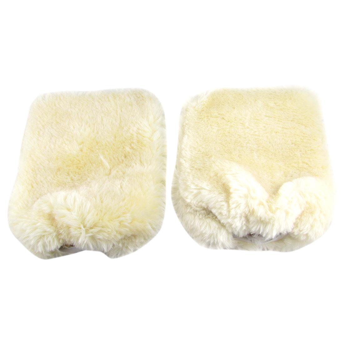 Elastic Cuff Auto Car Cleaning Washing Gloves Mitt Beige Pair