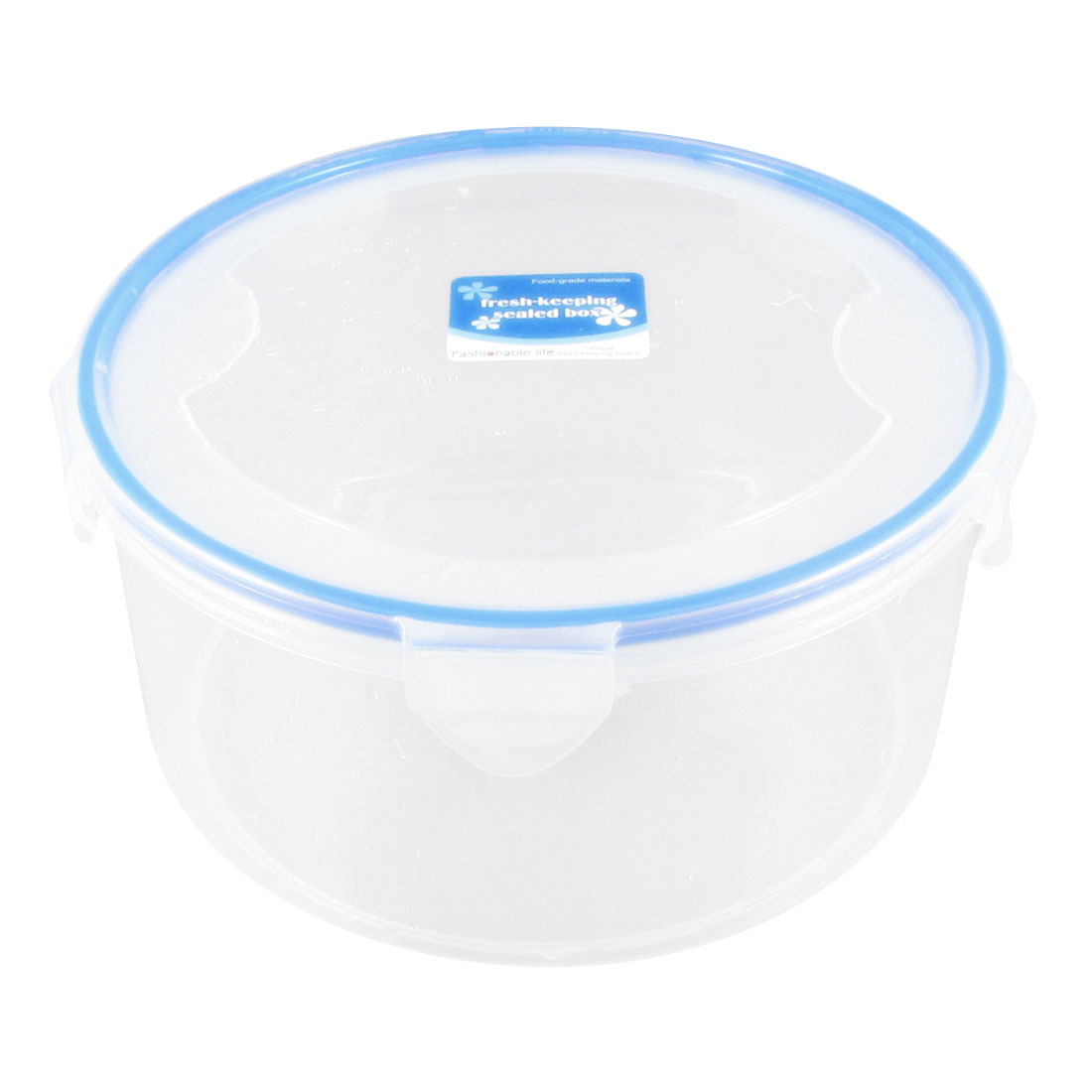 Clear White Plastic Sauces Vegetables Food Storage Container 1615ml w Lid