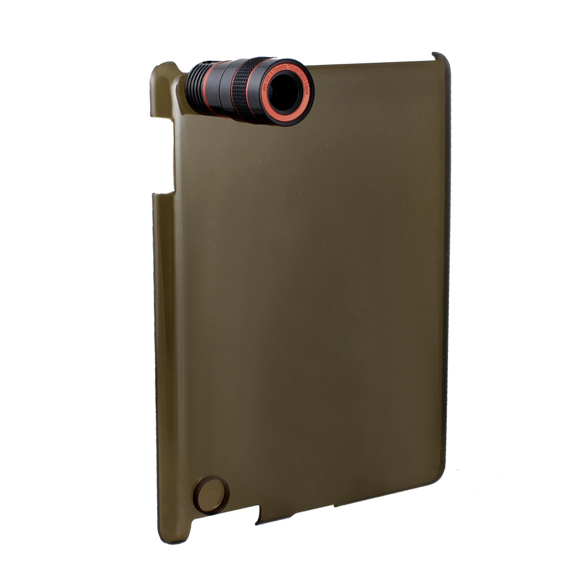 8X Optical Zoom Telescope w Clear Brown Back Case Cover for Apple iPad 2
