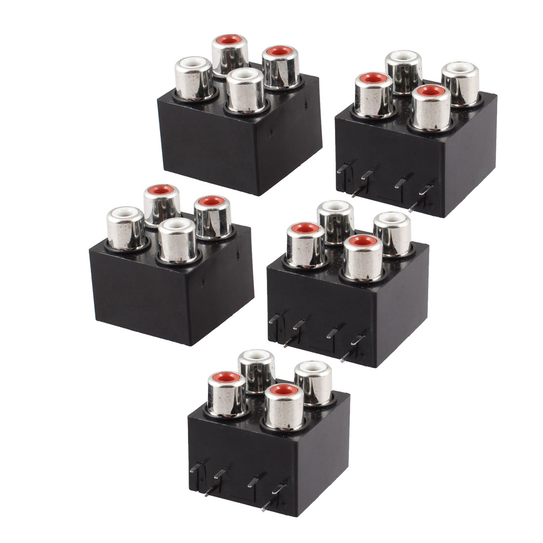 Black 6 Pins 4 RCA Female Outlet AV Concentric Socket Connector 5 Pcs