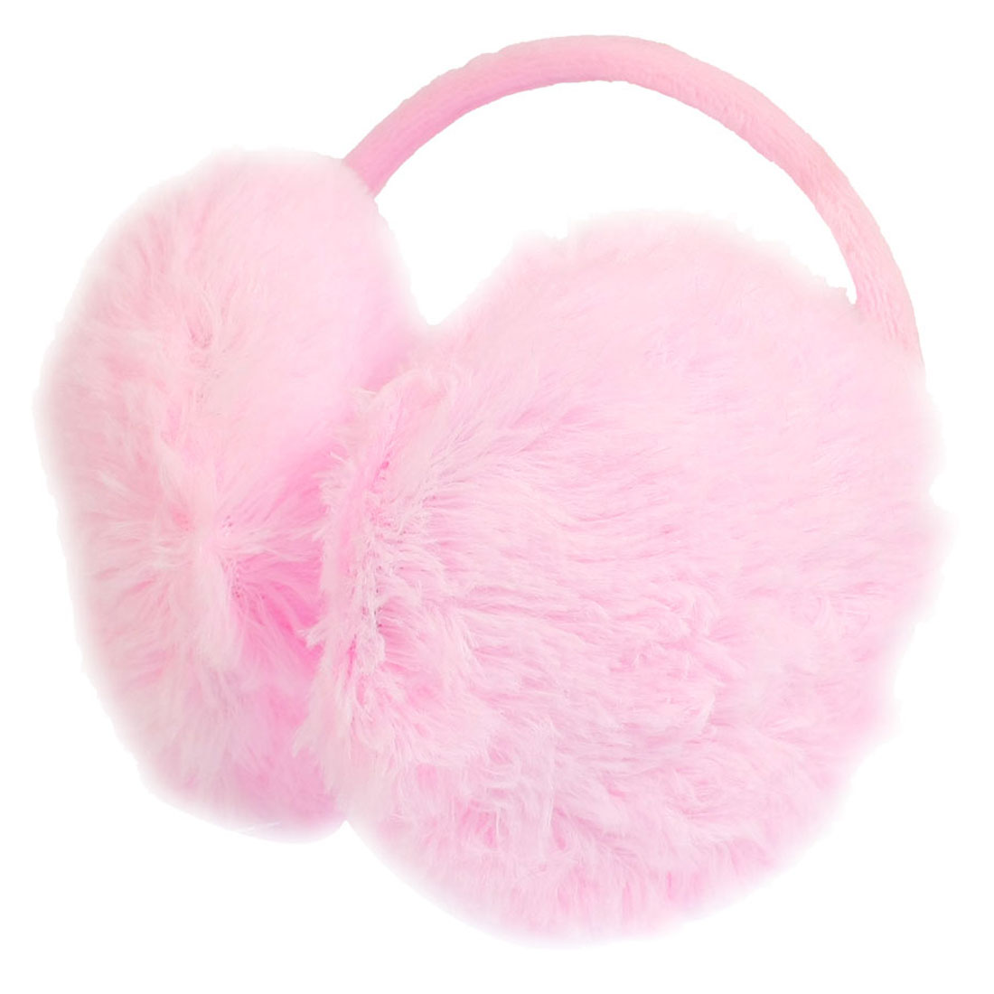 Ladies Winter Metal Frame Plush Earlap Ear Warmer Back Earmuffs Pink