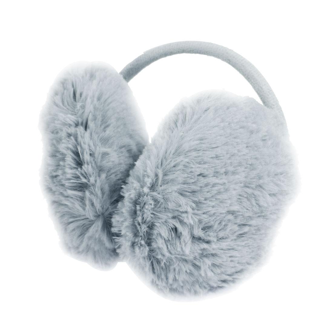 Winter Metal Frame Plush Earlap Ear Warmer Back Earmuffs Gray for Woman Lady