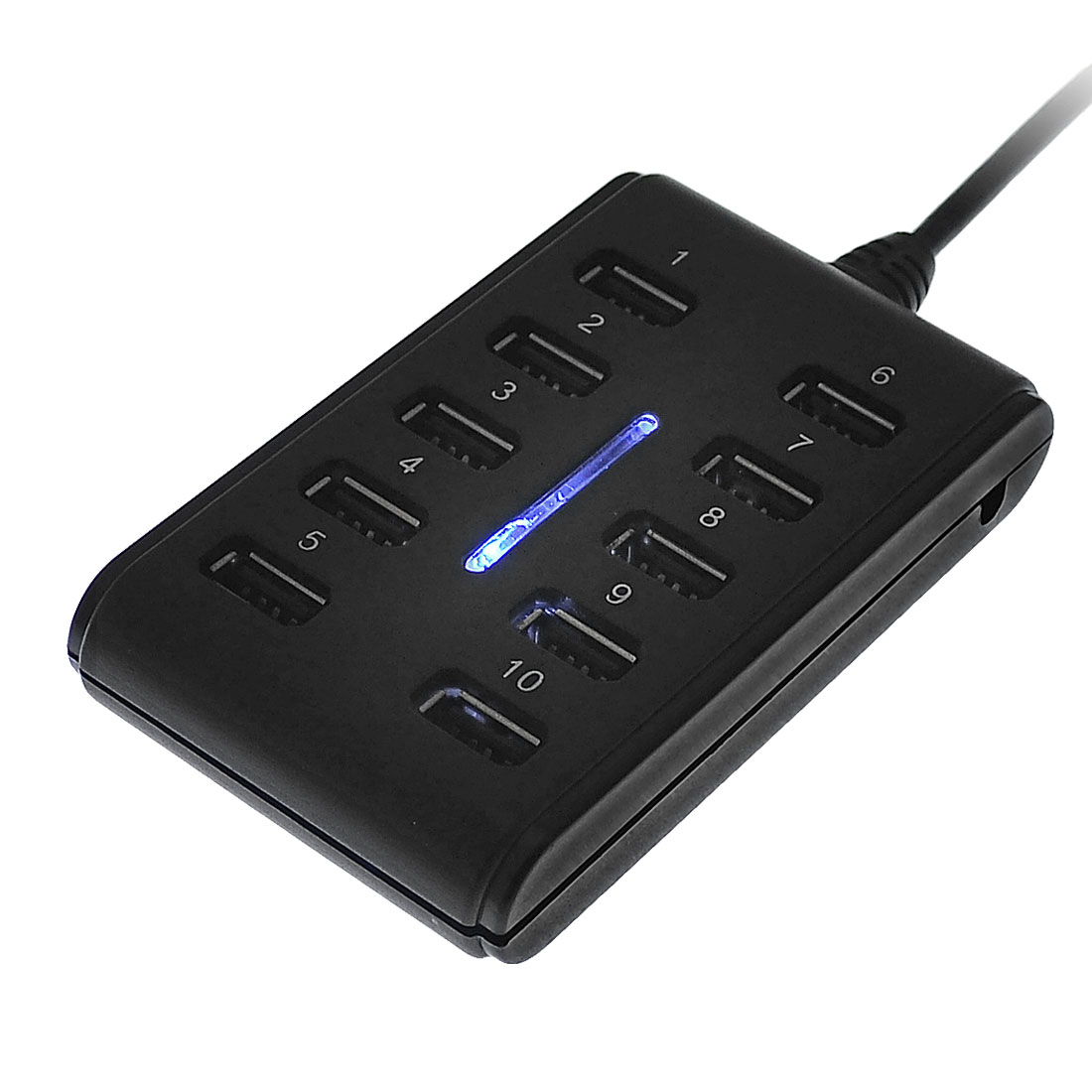 PC Notebook Portable 10 Ports USB 2.0 High Speed Hub Adapter Black