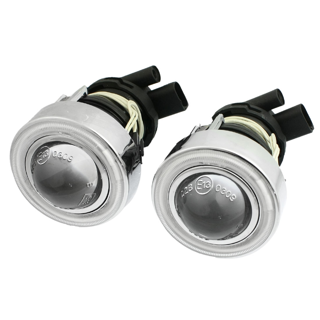 2 x Car Truck H3 HID Xenon Rear Fog Lights Red CCFL Angel Eye Halo Projector Lens