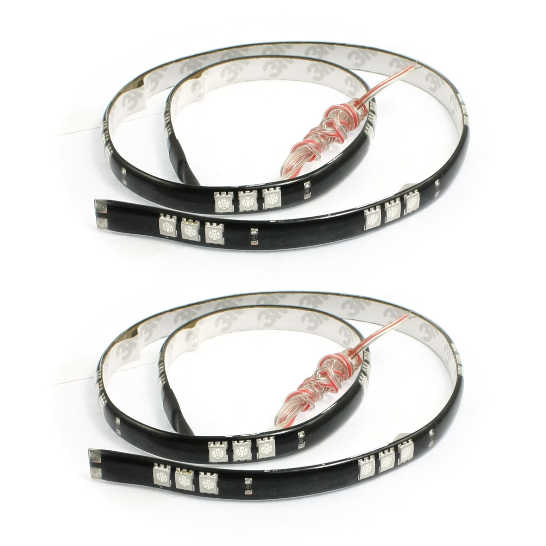 2 x Blue 5050 SMD 30 LED Waterproof Car Flexible Strip Light Lamp 60cm DC 12V