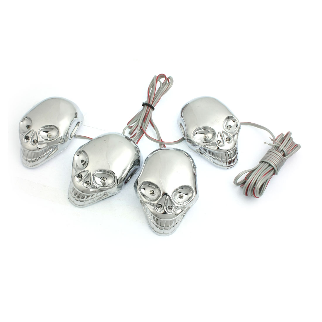 Car Motorcycle Plastic 4 Skull Tri Color Flash Light Lamp Decor Ornament