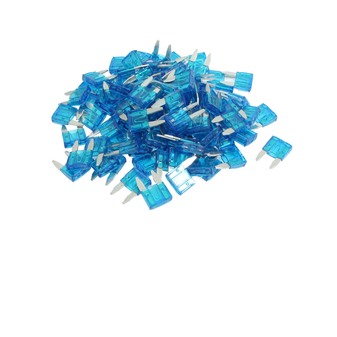 100 Pcs Mini Wedge Auto Car Boat Taxi Truck Blade Fuse Blue 15A