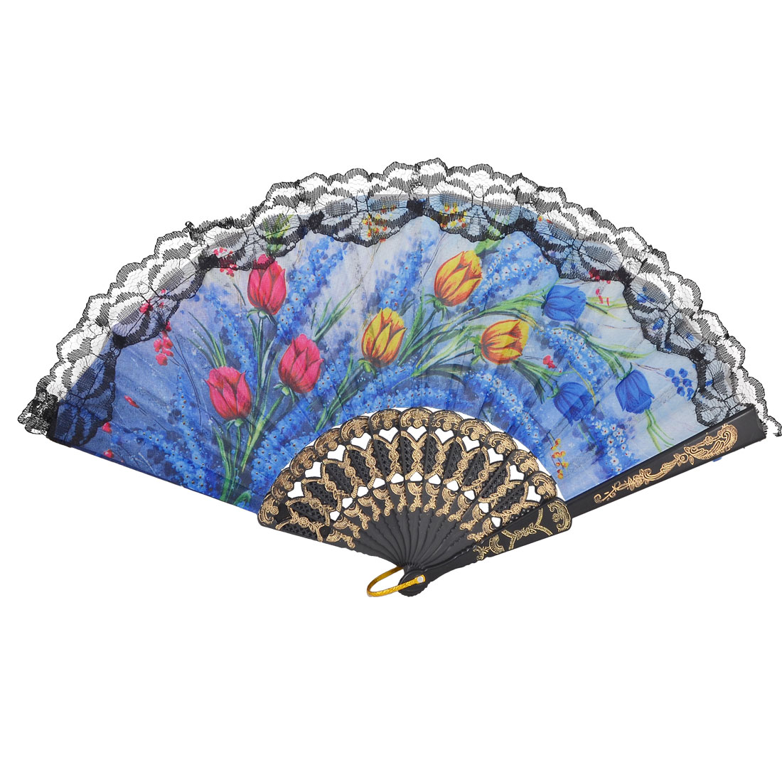 Embossing Ribs Multicolor Floral Printed Cloth Black Lace Trim Folding Hand Fan