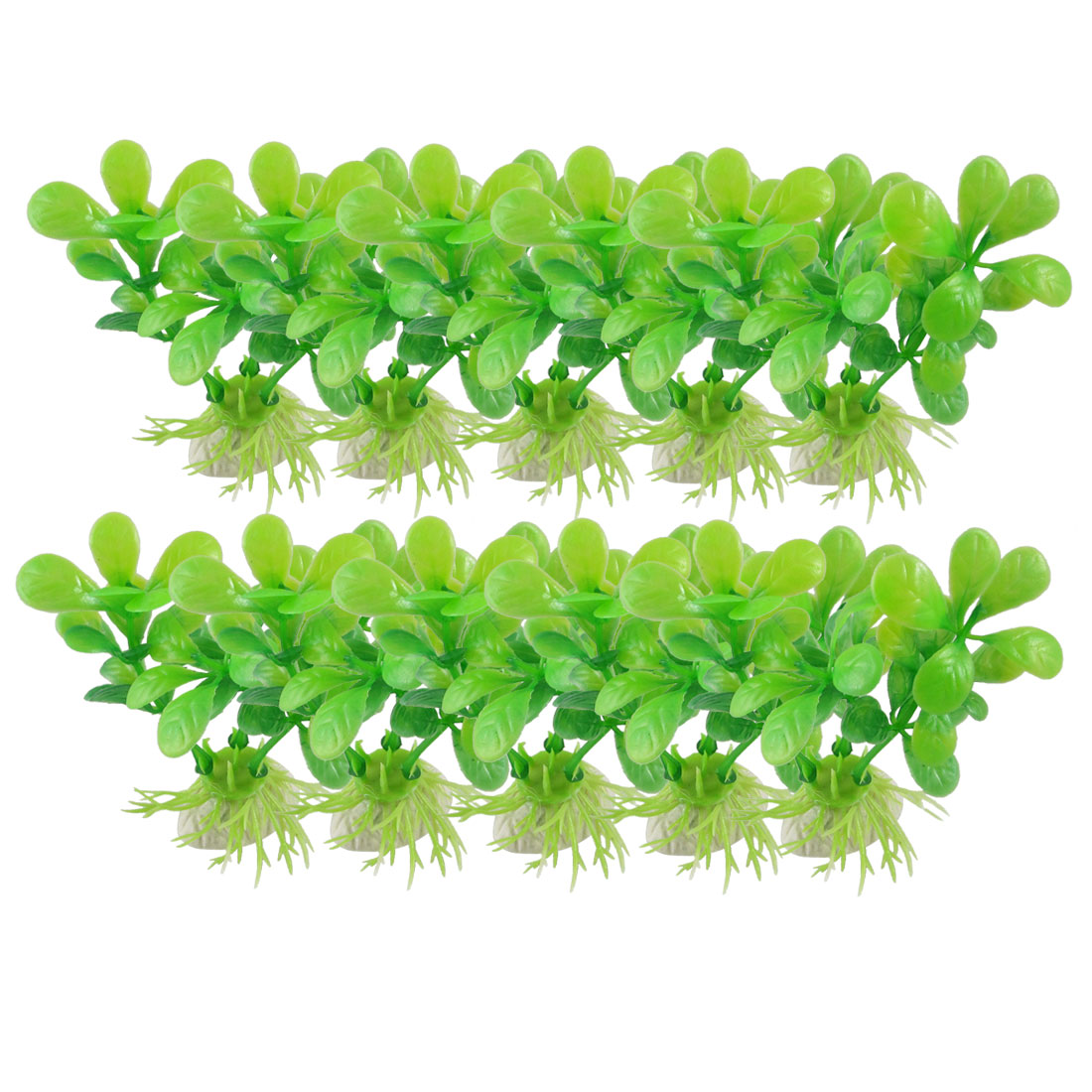 10 Pcs Aquarium Fish Tank Green Plastic Leaves Aquascaping Plant 3.3""