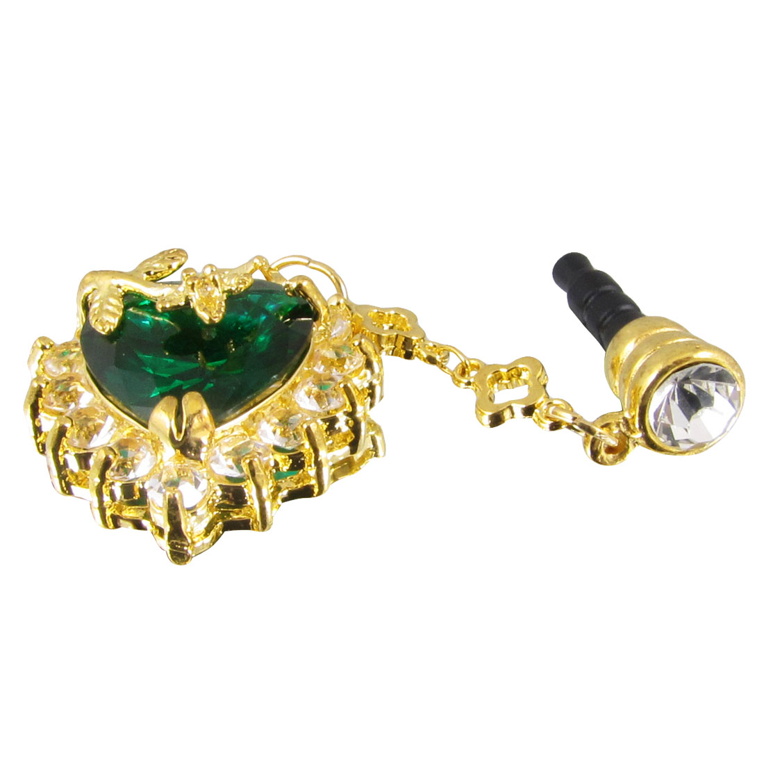 Green Plastic Crystal Heart Decor 3.5mm Earphone Anti Dust Cap for Smartphone