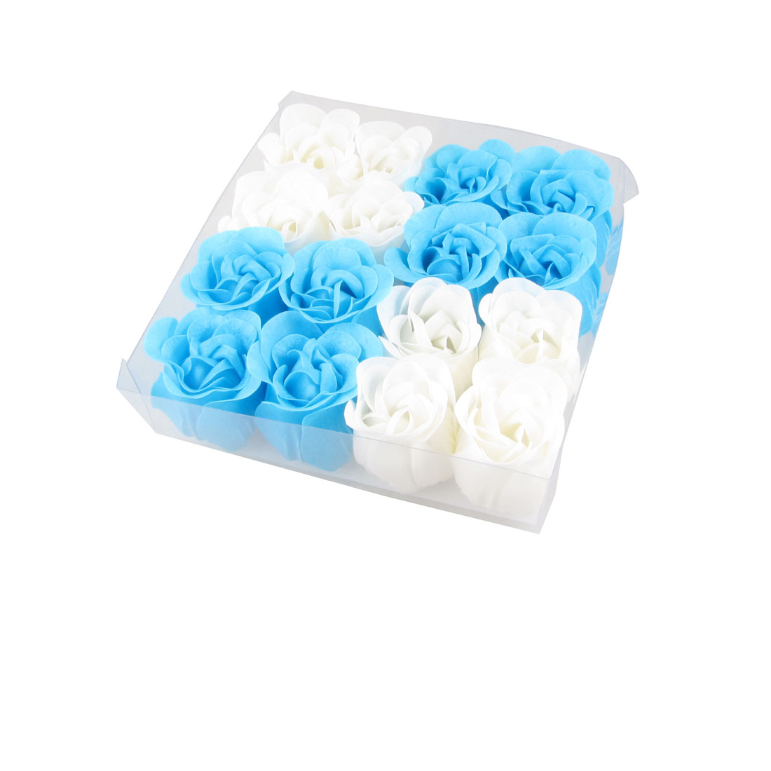 16 in 1 White Blue Scented Bath Soap Rose Petal in Square Box