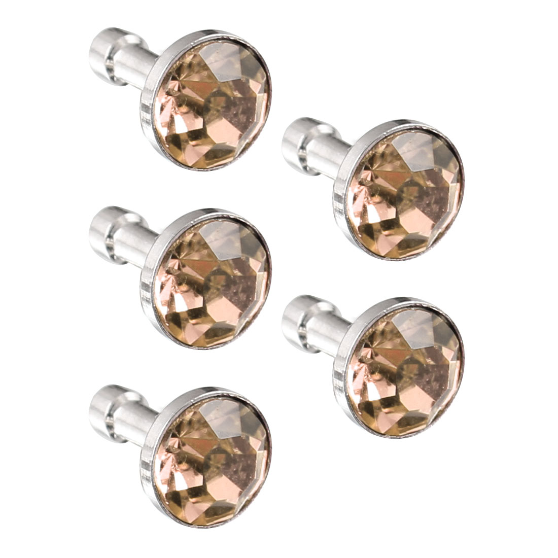 5Pcs Bling Pale Orange Crystal 3.5mm Earphone Jack Ear Cap Dust Plug for Smartphone