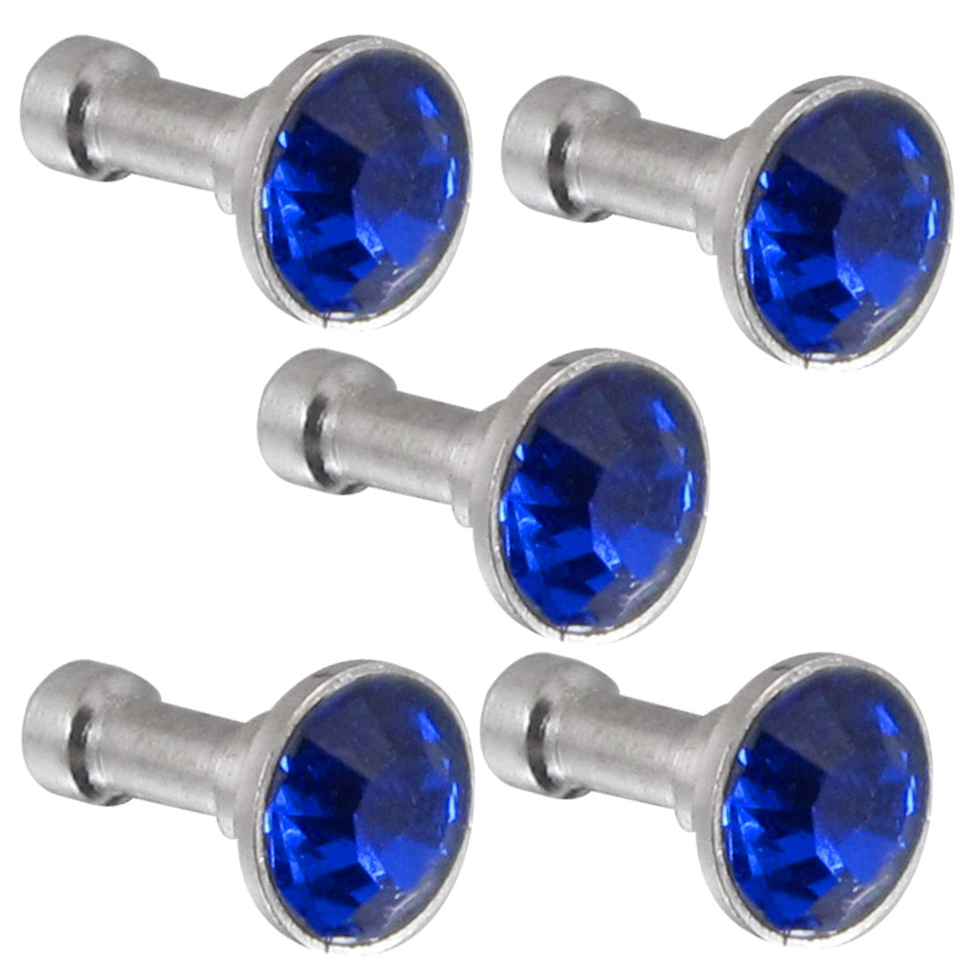 5Pcs Bling Royal Blue Crystal 3.5mm Earphone Jack Ear Cap Dust Plug for Smartphone