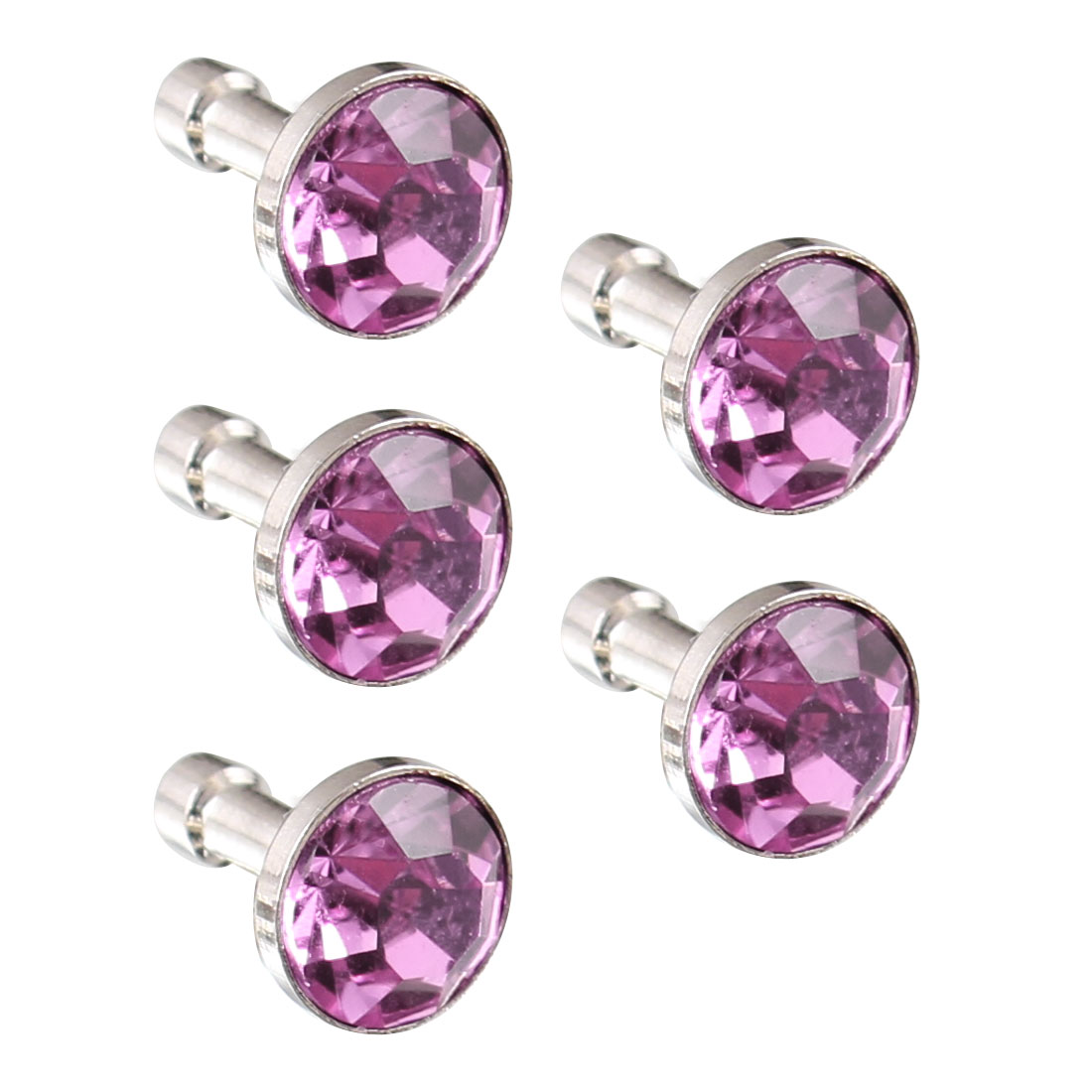 5Pcs Purple Crystal 3.5mm Earphone Jack Ear Cap Dust Stopper