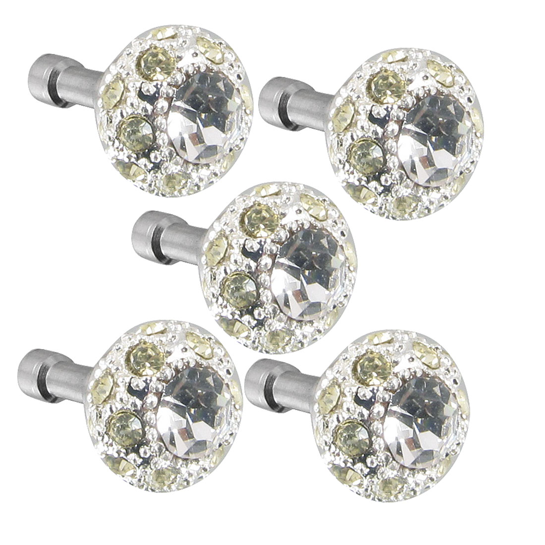5Pcs Bling Yellow Crystal 3.5mm Dust Earphone Plug Stopper