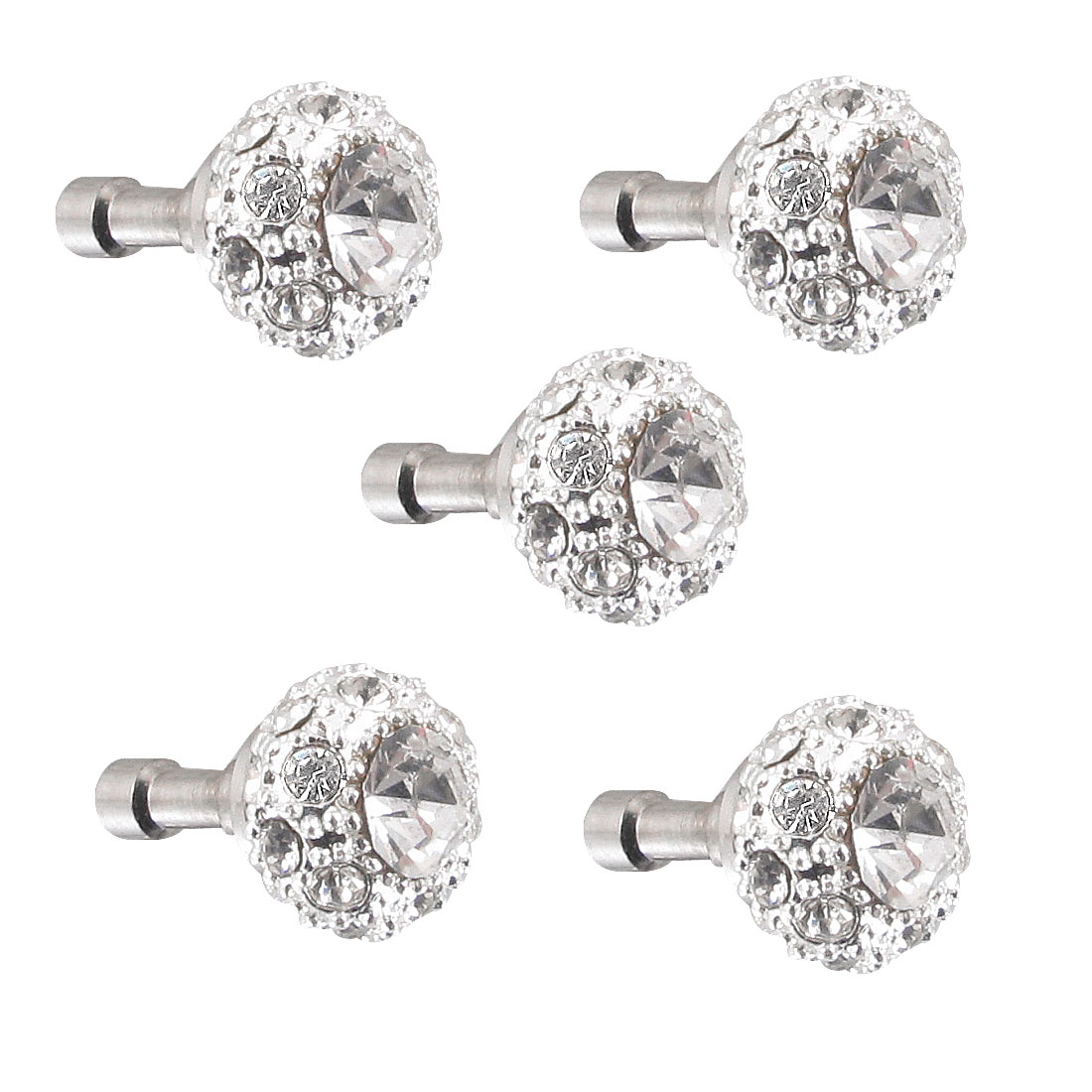 5Pcs Bling Clear Crystal 3.5mm Dust Earphone Stopper