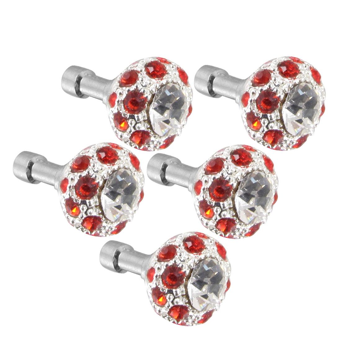 5Pcs Bling Red Crystal 3.5mm Dust Earphone Stopper