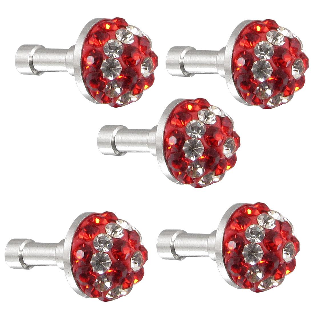 5Pcs Red Clear Bling Head 3.5mm Dust Earphone Stopper