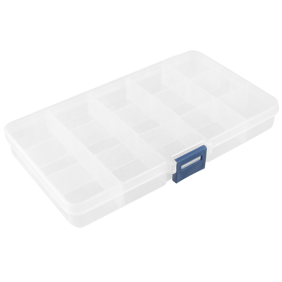 Clear White Plastic 15 Slots Electronic Components Storage Case Box Organizer