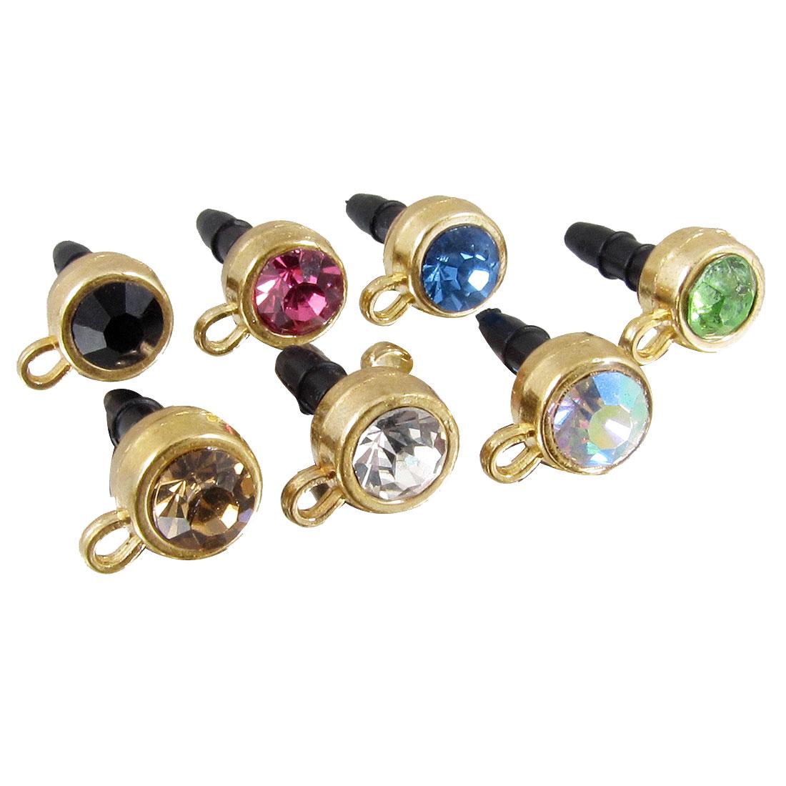 7 Pcs Glitter Crystal 3.5mm Anti Dust Earphone Ear Cap