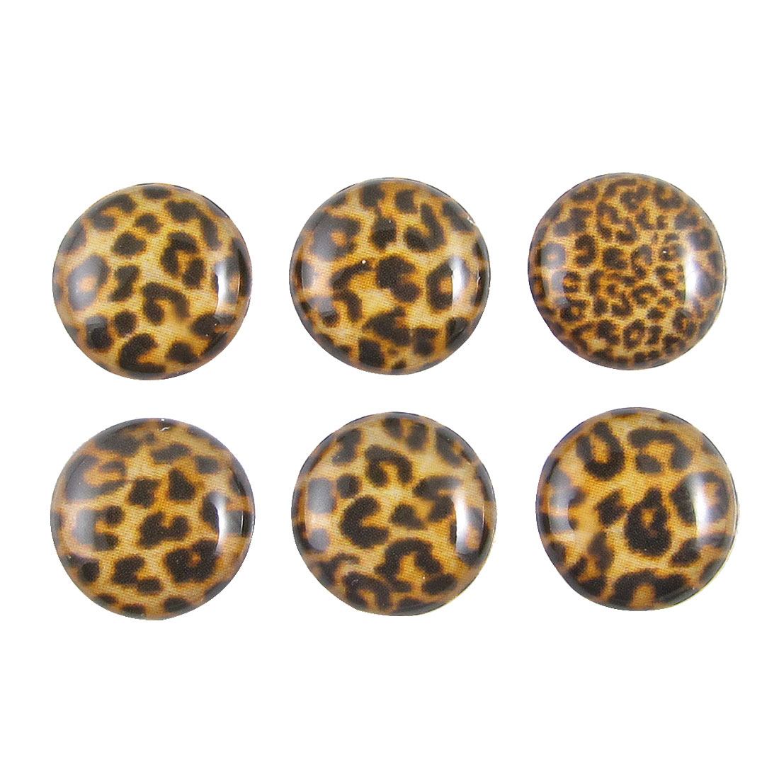 Brown Leopard Pattern Home Button Stickers 6 in 1 for Cell Phone