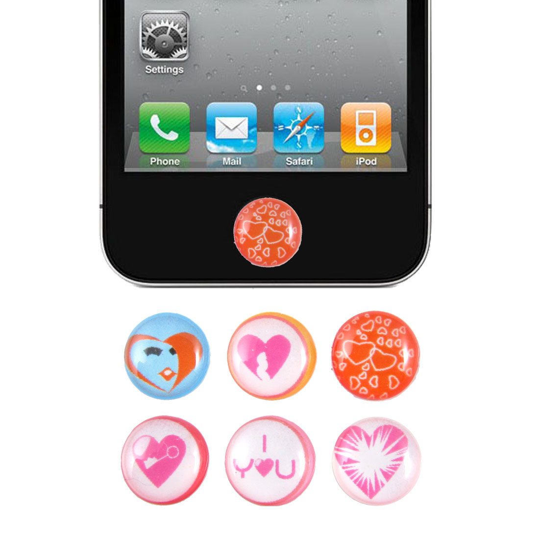 Heart Love Home Button Stickers 6 in 1 for iPhone 4 4G 4S 4GS 5 5G 5th Gen