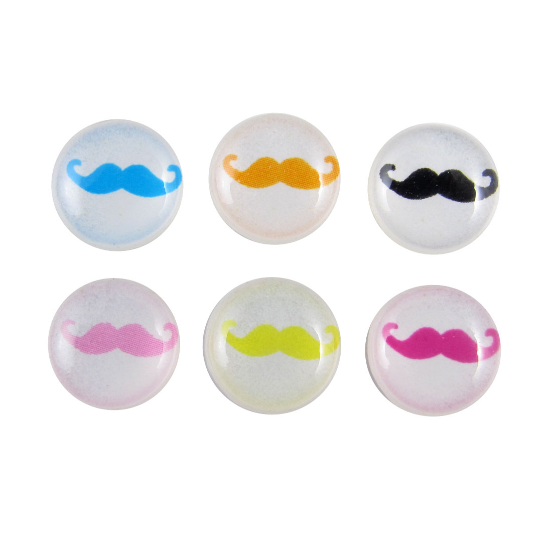 Colorful Mustache Home Button Stickers 6 in 1 for Cell Phone