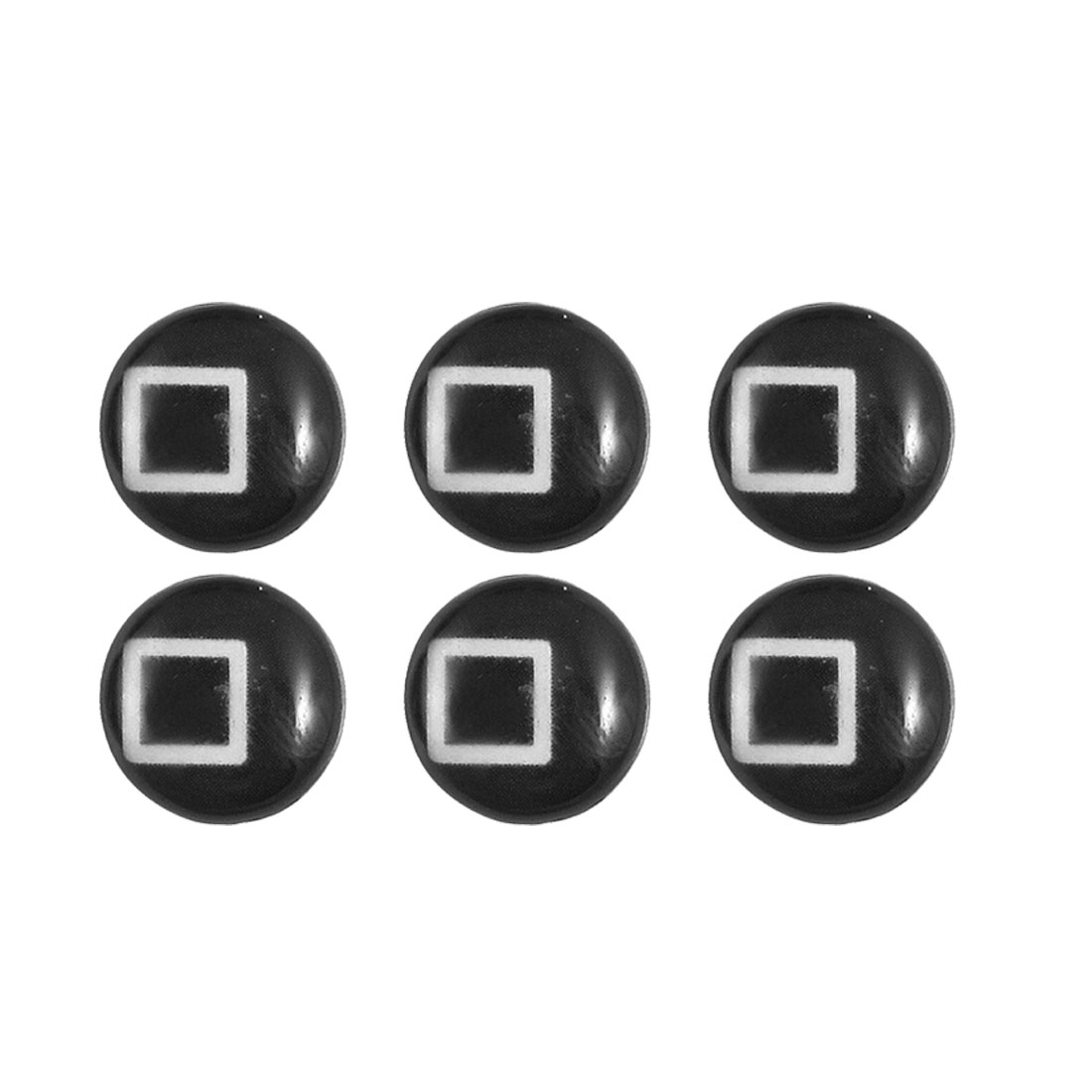 Black Square Design Home Button Stickers 6 in 1 for Cell Phone