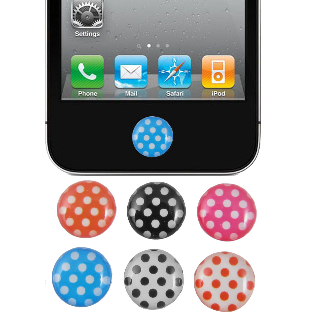 Multicolor Dots Home Button Stickers 6 in 1 for Cell Phone