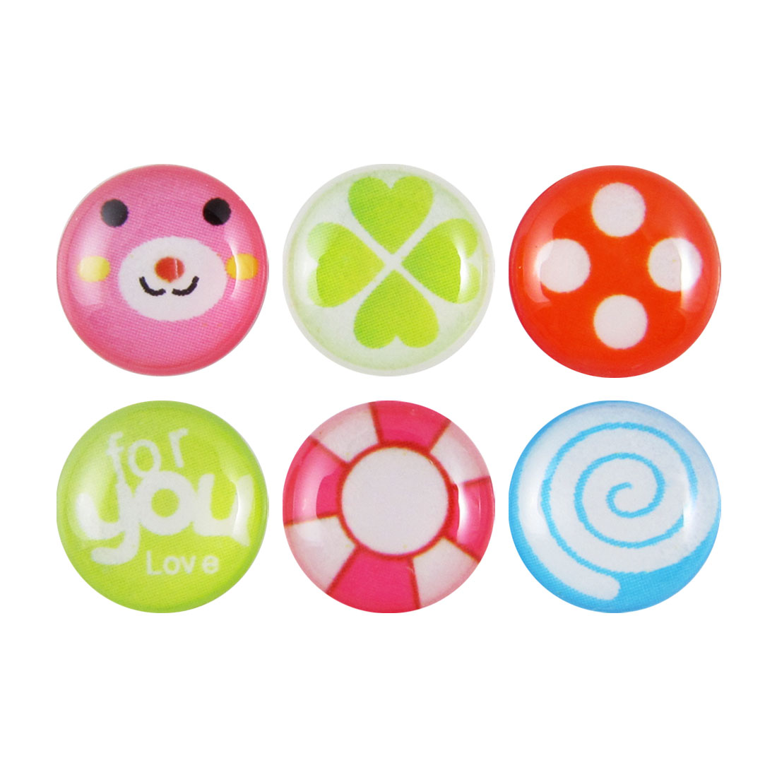 Dots Heart Spiral Home Button Stickers 6 in 1 for Cell Phone